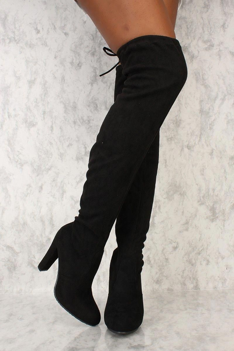 ca5e677e2ca2 Black Round Toe Chunky Ami Clubwear Thigh High Boots Faux Suede #Promshoes