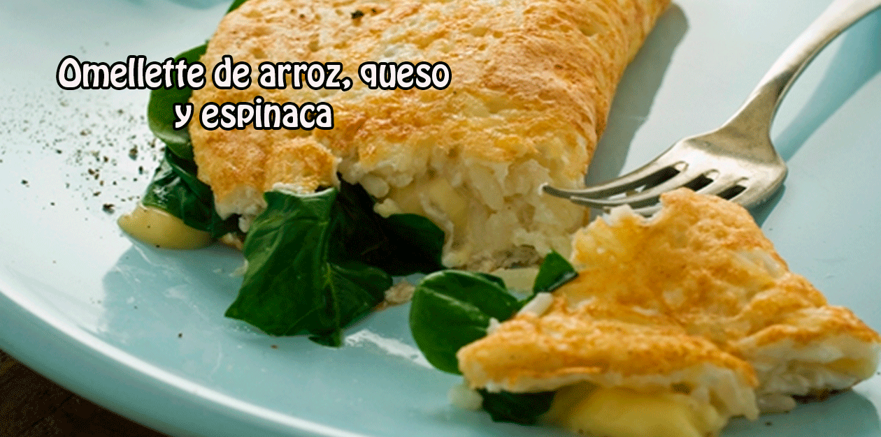 Omellette de arroz, queso  y espinaca