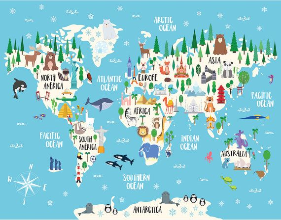 Animal world map print kids world map poster nursery world map this amazing animal world map poster will add a special touch to your already wonderful nursery and will bring your child countless opportunities to learn gumiabroncs Image collections