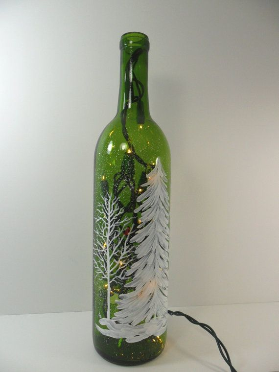 Lighted wine bottle white forest hand painted 750 ml for Painting of a wine bottle