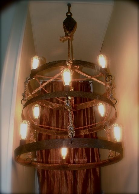 Rustic Chandelier Made From Whiskey Barrel Rings Old Farm