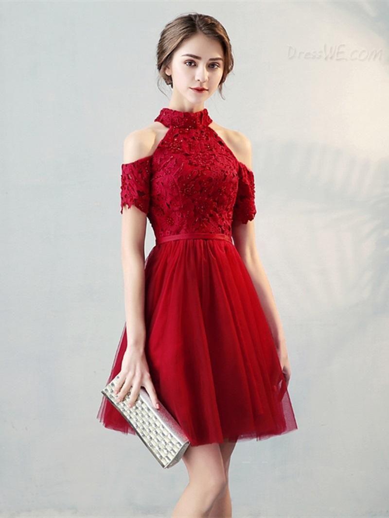 DressWe - #DressWe A Line High Neck Short Sleeve Knee Length