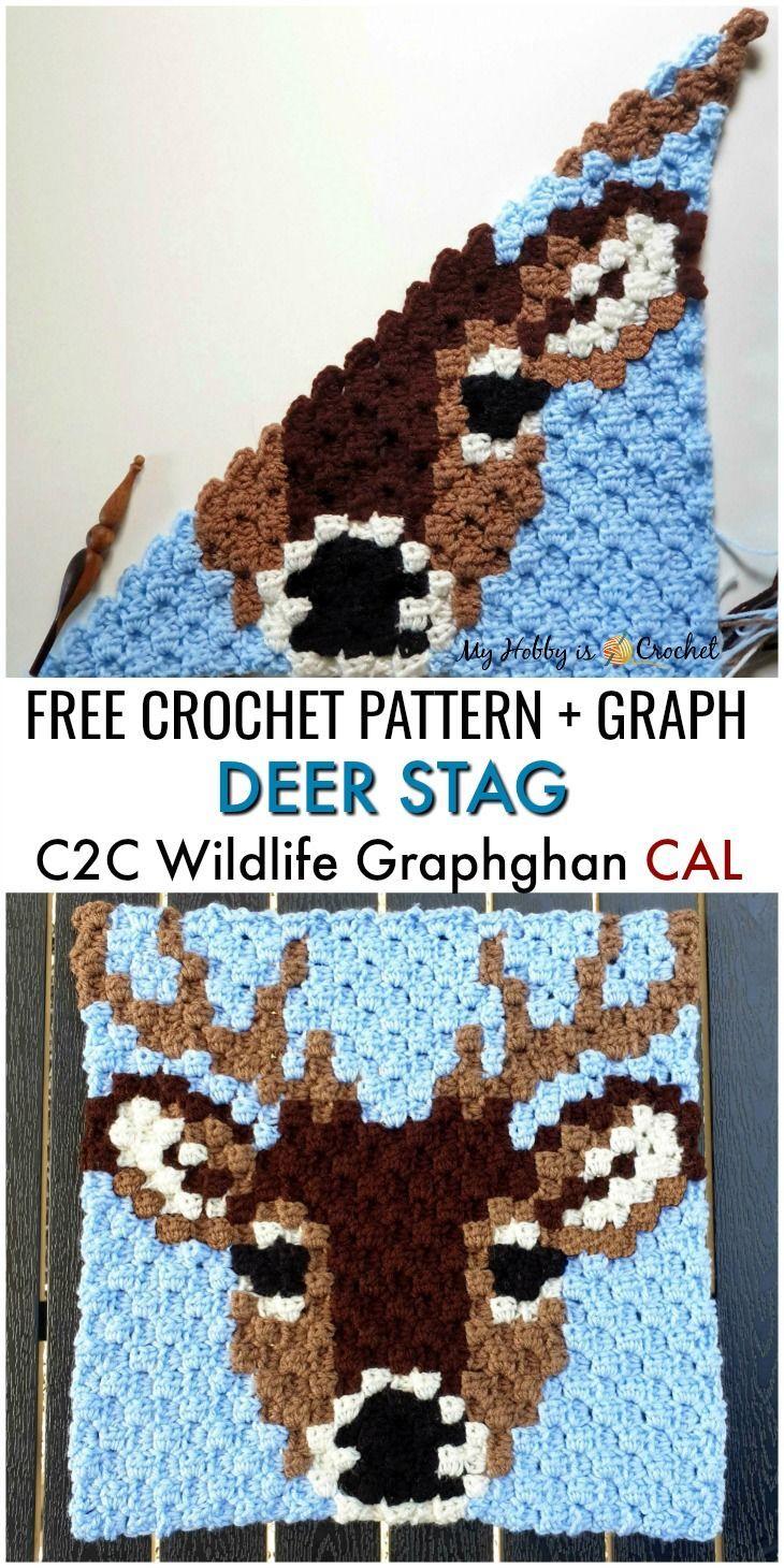 "Photo of Free Crochet Pattern + Graph: ""Deer Stag"" C2C Square – Wildlife Graphghan CAL Block 8"