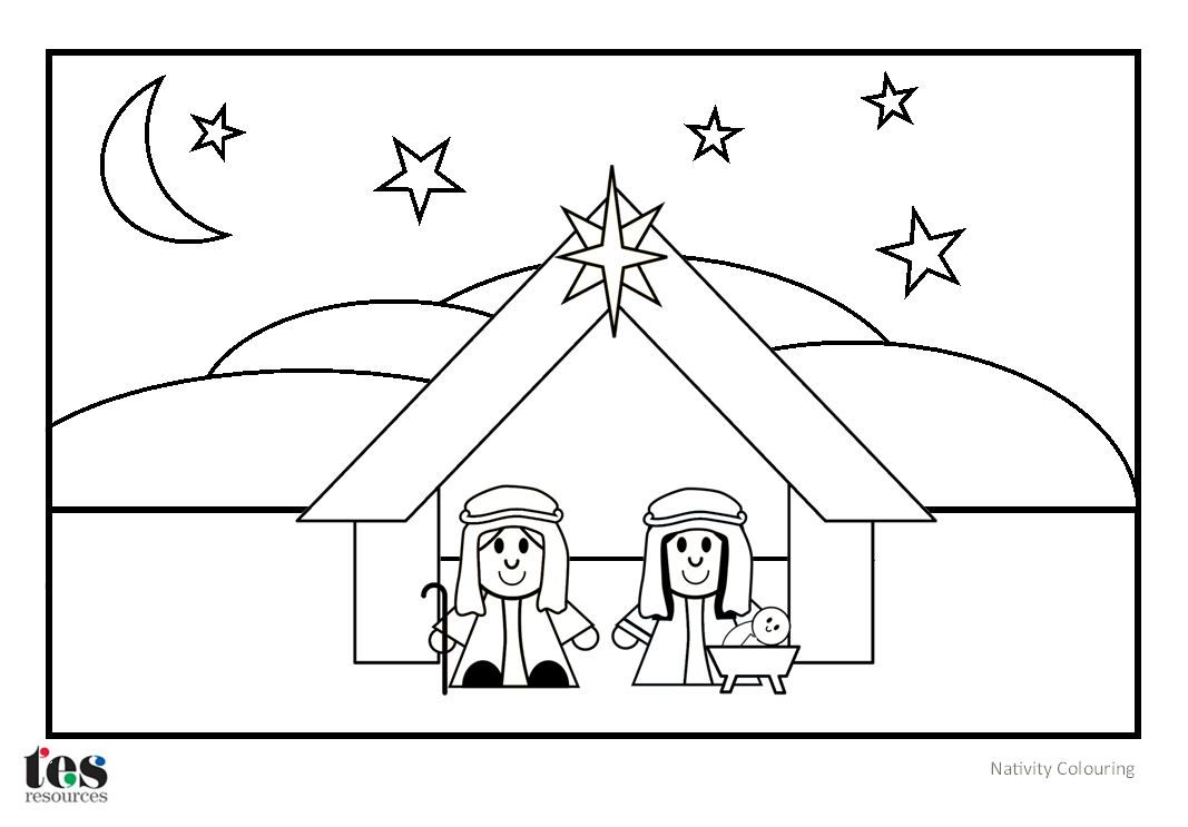 Colouring sheets nativity scene - 3 Simple Sheets For Christmas Colouring Fun Choose From Christmas Tree Reindeers Or The