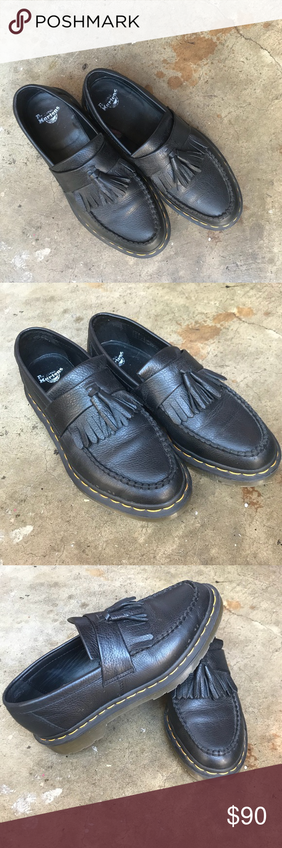 """91838cada08 Dr. Martens Adrian """"Virginia"""" tassel loafer US 8 Dr. Martens Adrian tassel  loafer in black """"Virginia"""" leather. These shoes were purchased in January  of this ..."""