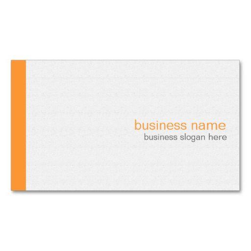 Plain Elegant Modern Simple Orange Stripe On White Business Card Zazzle Com White Business Card Modern Business Cards Business Cards Creative Templates