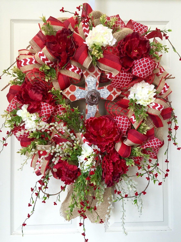 Wreath Mesh Wreath Red Everyday Cross Burlap By
