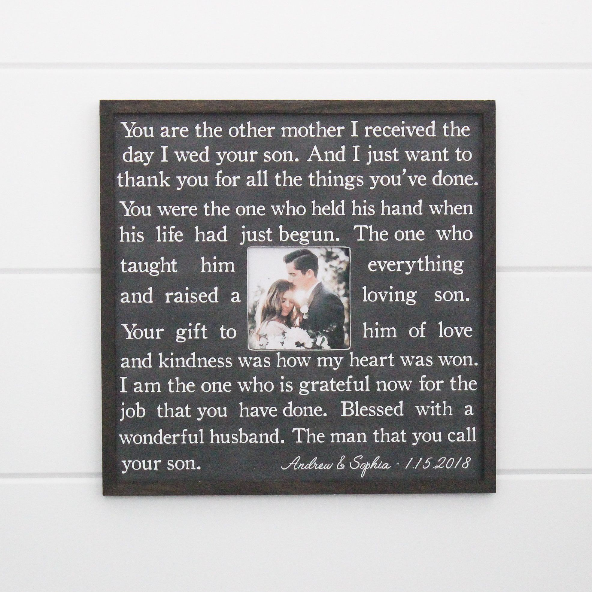 Mother of the groom gift picture frame gift for mother of the