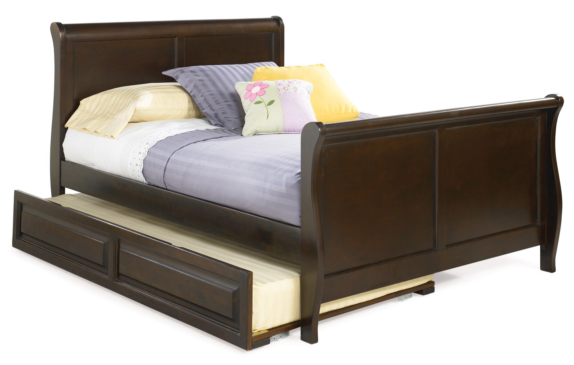 Queen Trundle Sleigh Bed With Purple Bed Linen And Cushions | Queen ...