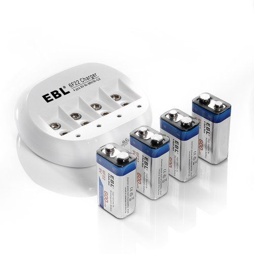 Best rated 4 Pack EBL® A Ratio Zero High Volume 600mAh 9V 6F22 Lithium-ion Rechargeable Battery with 9V Lithium-ion Rechargeable Battery Charger(1~4 pcs)