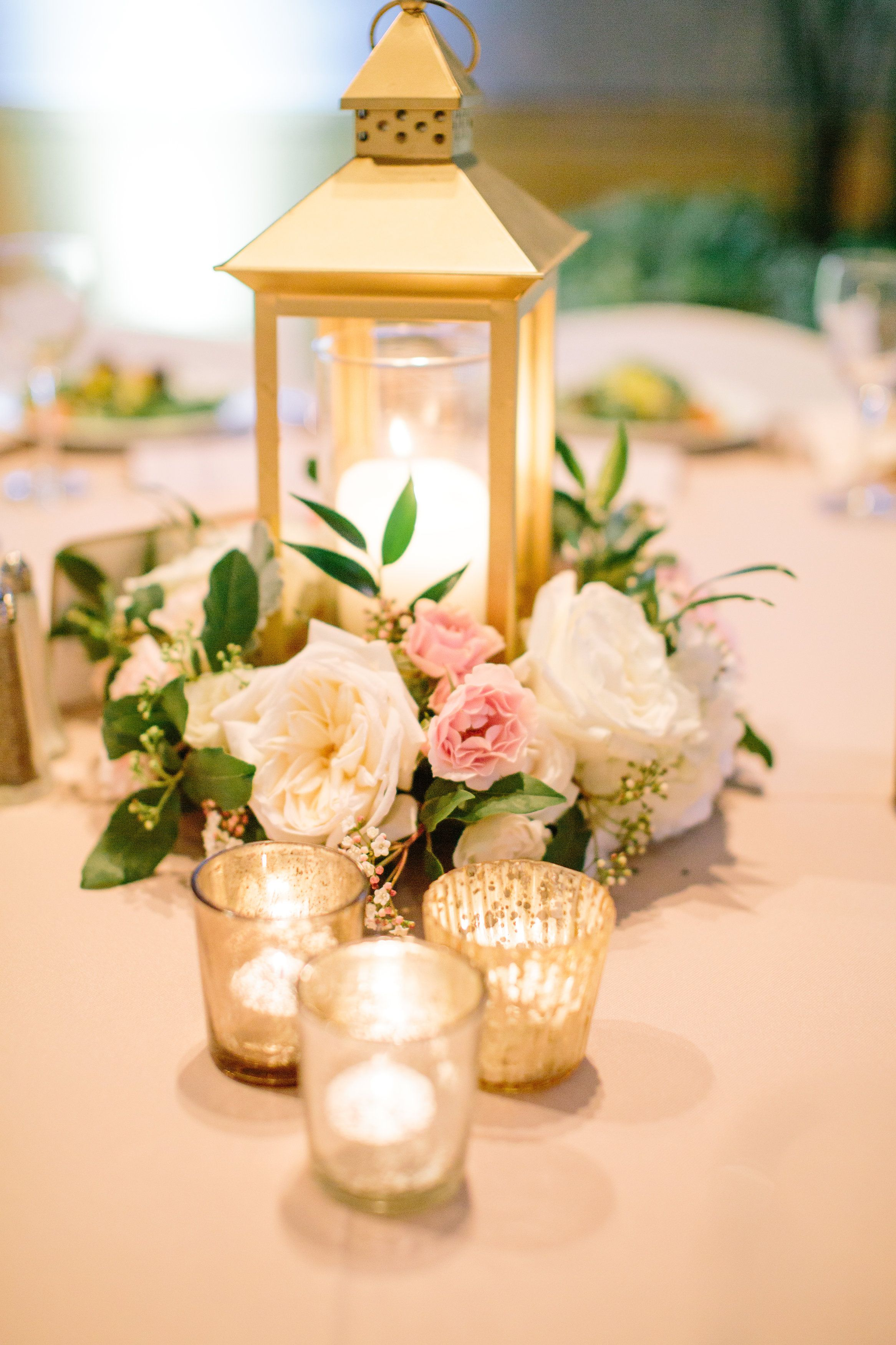 Gold lantern centerpiece blush ivory