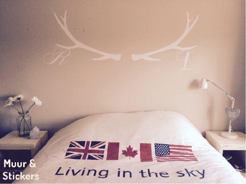 Slaapkamer Met Kunstmuur : Muursticker gewei met letters leuk voor op de slaapkamer