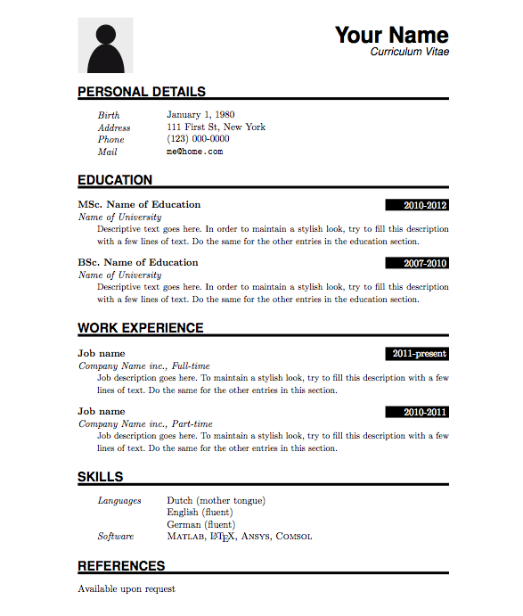 Free Sample Resume Templates Examples: Curriculum Vitae Template - Google Search