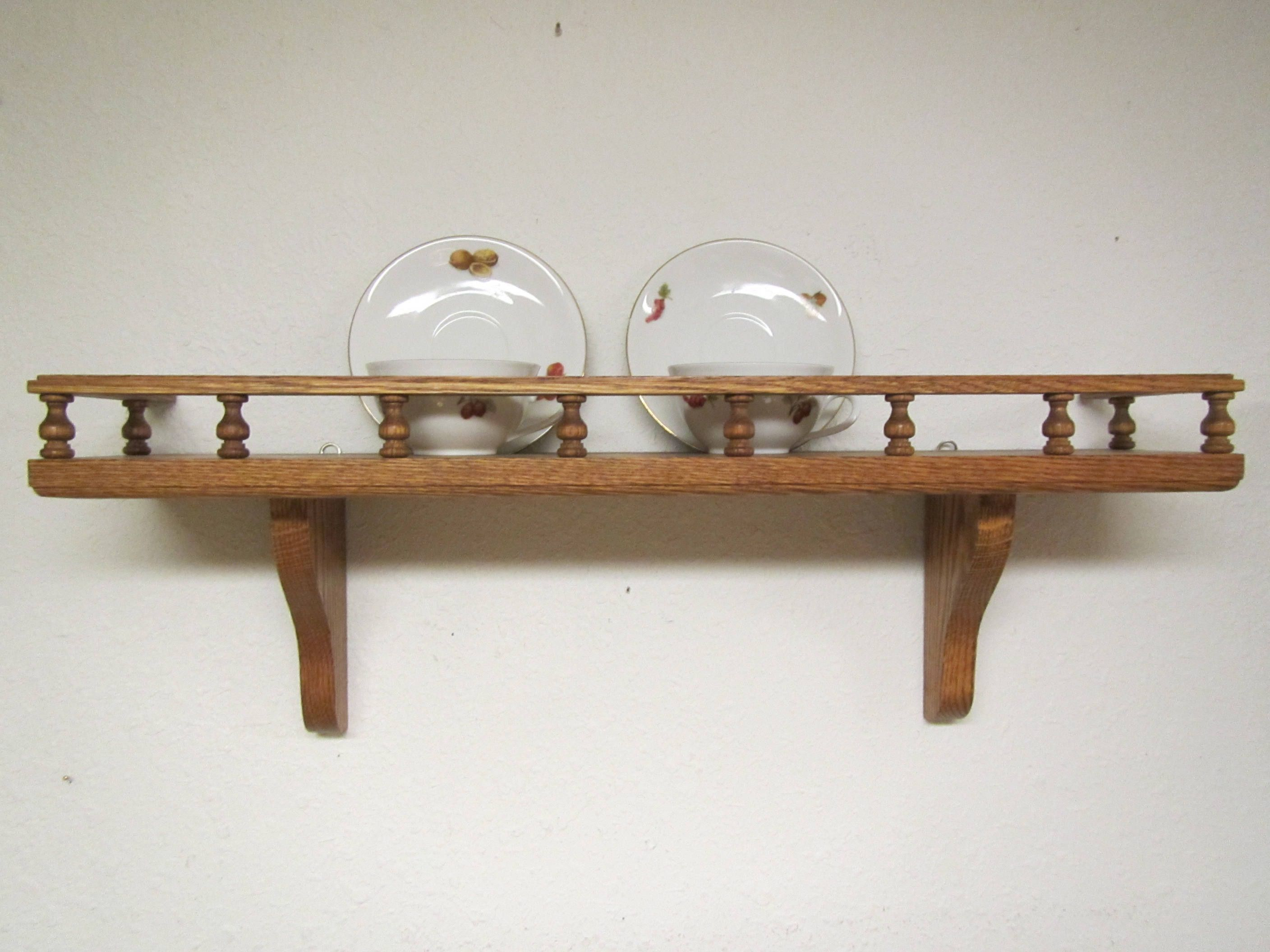 Oak Wall Shelf With Plate Groove And Rail , Photo
