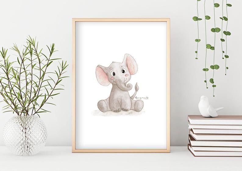 Affiche Enfant Aquarelle Elephant Serie Bebe Animaux Cadeau