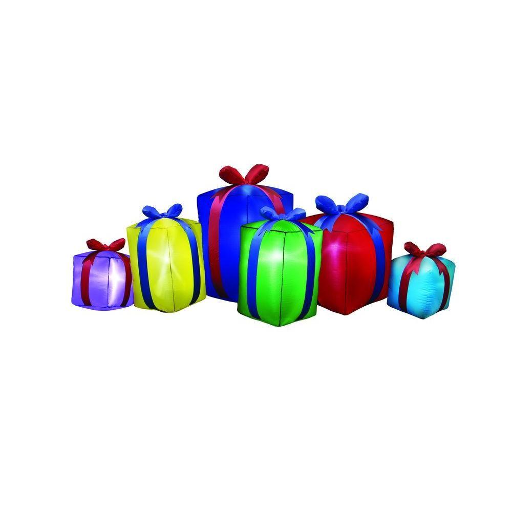 Airflowz 8 ft. Inflatable Row of Presents Non Metallic-80566-01   Inflatable christmas ...