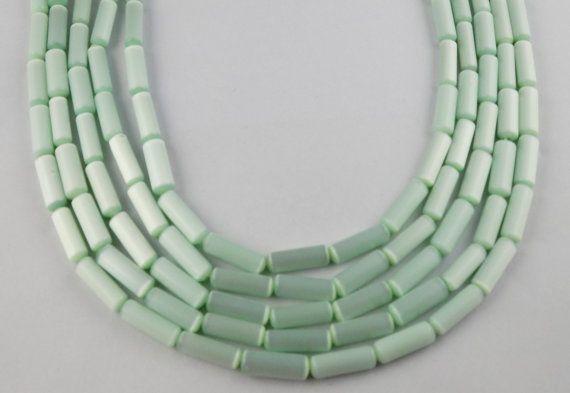 5 Strands Sea Blue Color Monalisa Cat's Eye Tube Shape Approx 5x18mm Loose Beads #luctsa