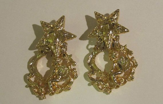 High End Vintage Clip On Earrings With Angel Staroon Unique