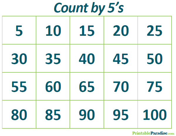 Printable Count by 5\'s Practice Chart | Count by Number Charts ...