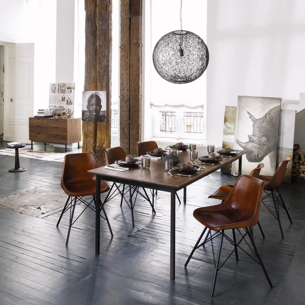 stuhl im industrial stil aus leder braun styleguide home st hle esszimmer und vintage st hle. Black Bedroom Furniture Sets. Home Design Ideas