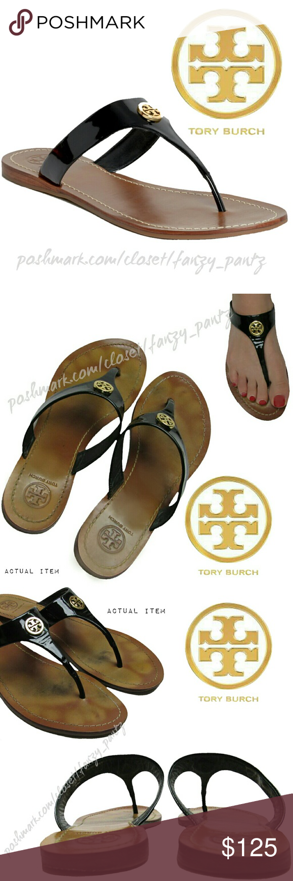 604e243bce3 Tory Burch Cameron Patent thong sandals 8.5 Tory Burch  Cameron  black  patent leather sandals with gold logo medallion. Similar look as Thora  sandals but ...