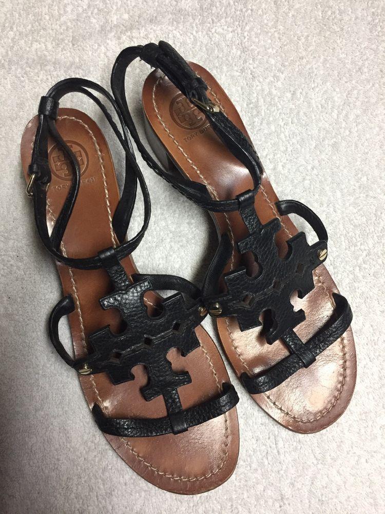 c8cc4e03e Tory Burch Women s Black Leather Ankle Strap Heels Sandals Shoes Size Sz 9  Med