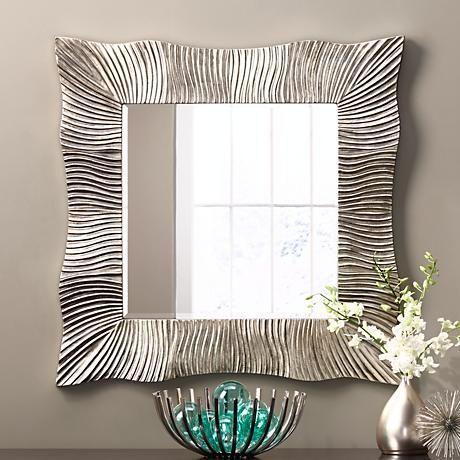 Salina Ribbed Wavy Silver 37 Square Wall Mirror 8c904 Lamps Plus Mirror Design Wall Antique Mirror Wall Mirror Wall Bedroom