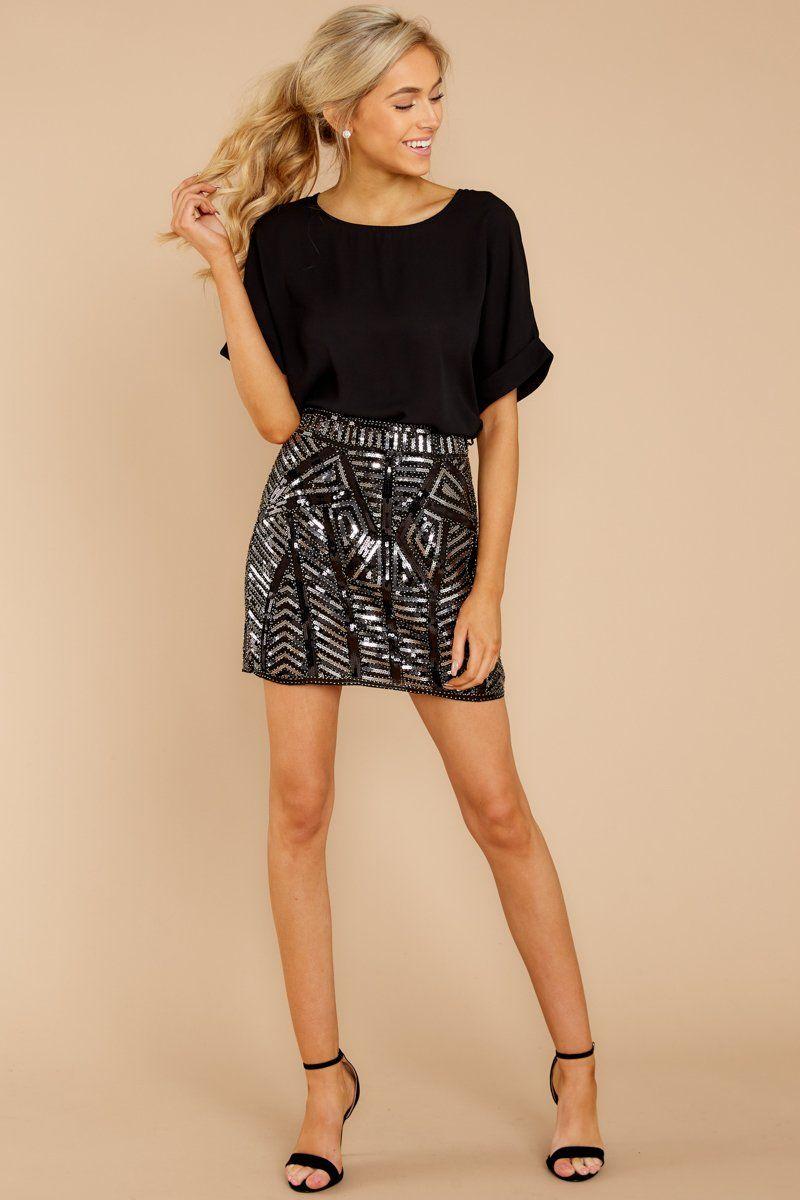 3ffdddd229 Stylish Black Sequin Skirt - Sparkly Geometric Skirt - Bottoms - $46 – Red  Dress Boutique