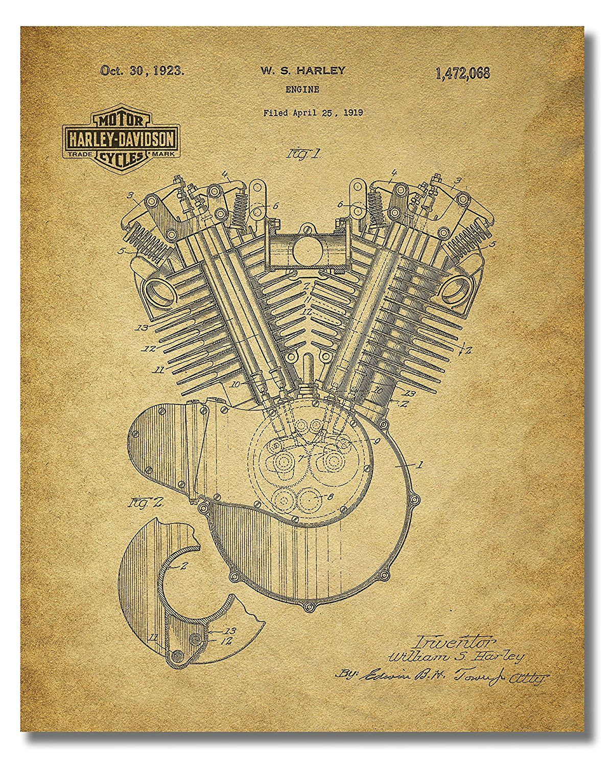 Amazon.com: Harley Davidson Patent Wall Art Prints - Set of Four ...