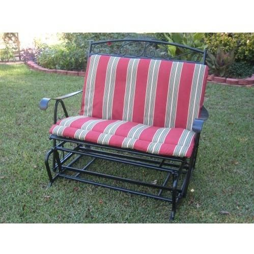 International Caravan Maui Wrought Iron Double Patio Glider Black Glider Cushions Patio Glider Outdoor