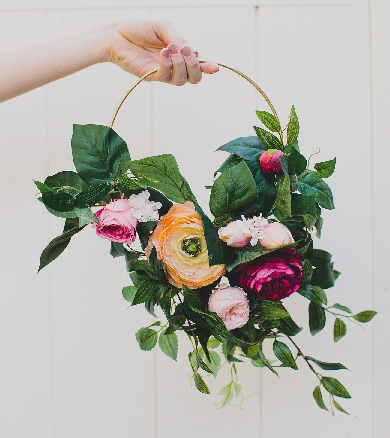 How to DIY a Silk Flower Hoop Bouquet Diy wedding