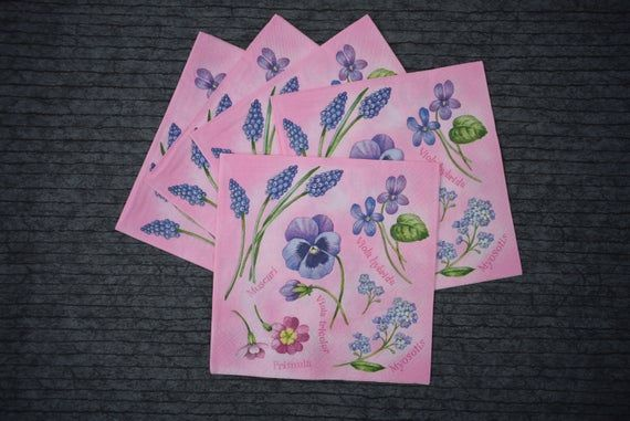 Decoupage Paper Napkins - Set of 5 #0045 #papernapkins