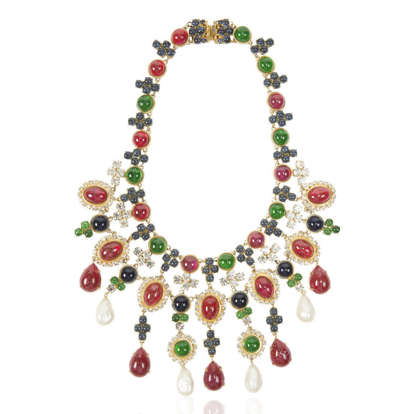 Christian Dior Elaborate Ruby Emerald Paste Pearl Bib Necklace