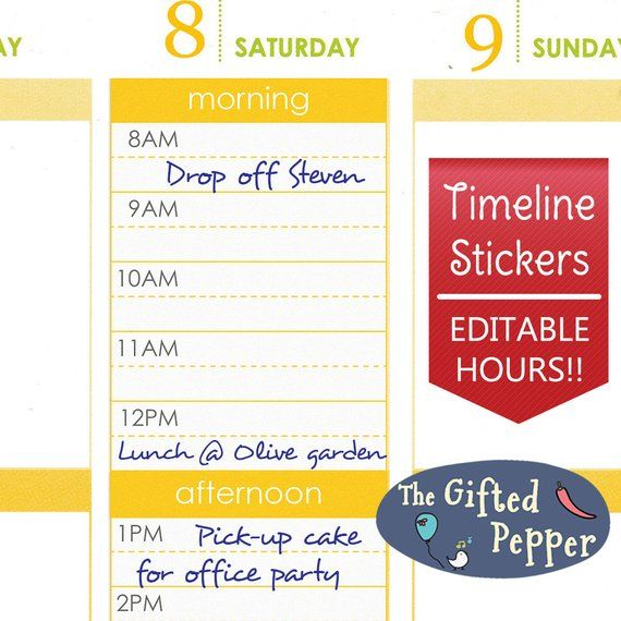 Editable Daily Timeline Schedule sticker Printable Hourly layout