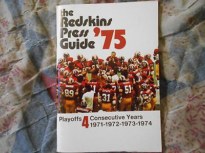fd13ba41 1975 WASHINGTON REDSKINS MEDIA GUIDE Yearbook Press Book Program ...