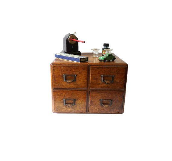 Antique Wooden Files Cabinet Desk Organizer by FrenchVintageShop - Antique Wooden Files Cabinet Desk Organizer Drawers Industrial Decor