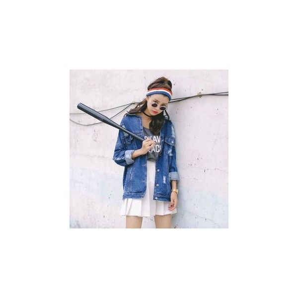 Distressed Oversized Denim Jacket (€32) ❤ liked on Polyvore featuring outerwear, jackets, women, jean jacket, oversized jacket, blue denim jacket, blue jean jacket and distressed denim jacket