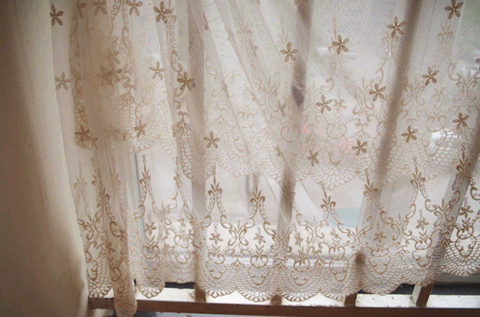 ivory Lace fabric, Embroidered tulle lace fabric, curtain fabric, cotton embroidery lace