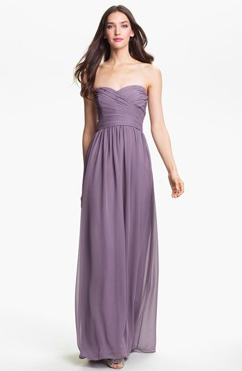 Traditional Monique Lhuillier Bridesmaids Strapless Ruched Chiffon ...