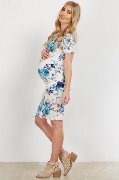 55dbf7625f3 Aqua Ivory Floral Fitted Maternity Dress