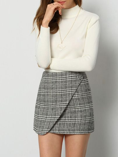 64a297accf Shop Black White Houndstooth Skirt online. SheIn offers Black White  Houndstooth Skirt & more to fit your fashionable needs.