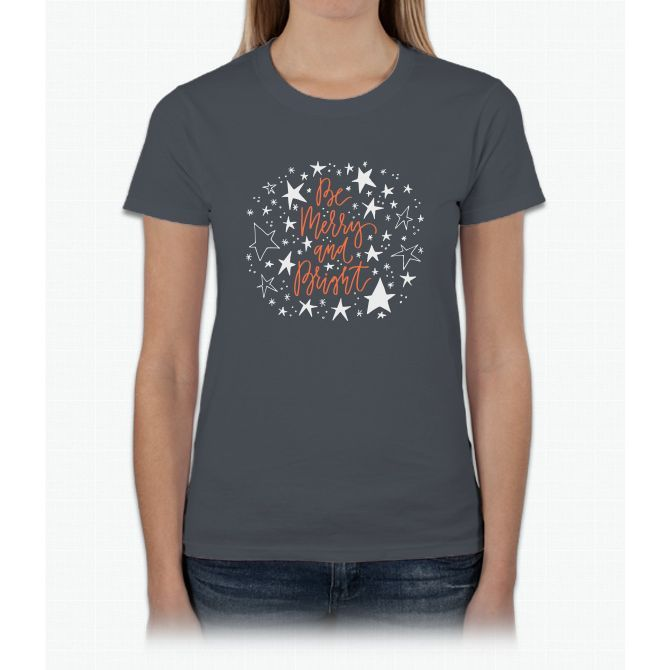 Merry And Bright With Stars Womens T-Shirt