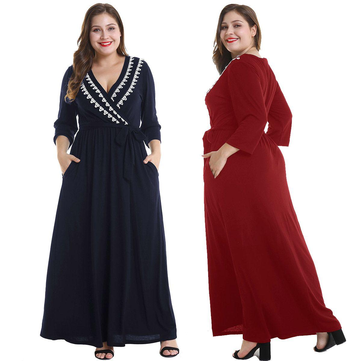 V Neckline Drop Waist Maxi Dress Plus Size