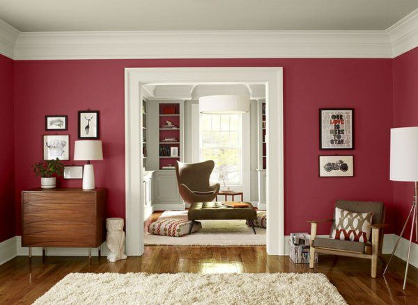 wandfarbe-beere-trendfarbe-benjamin-moore-wohnzimmer-wandfarbe - moderne wandgestaltung wohnzimmer