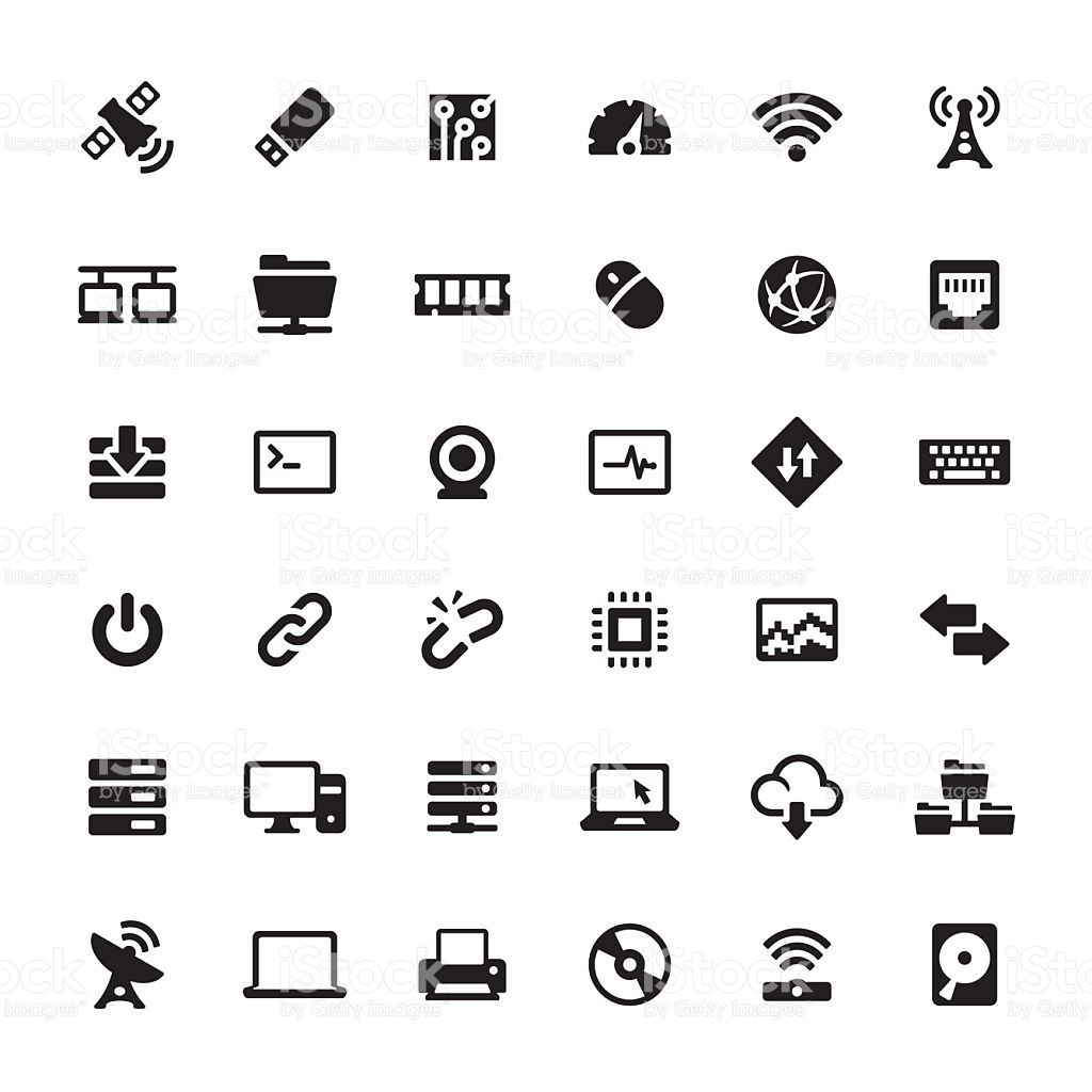Technology And Computers Related Symbols And Icons