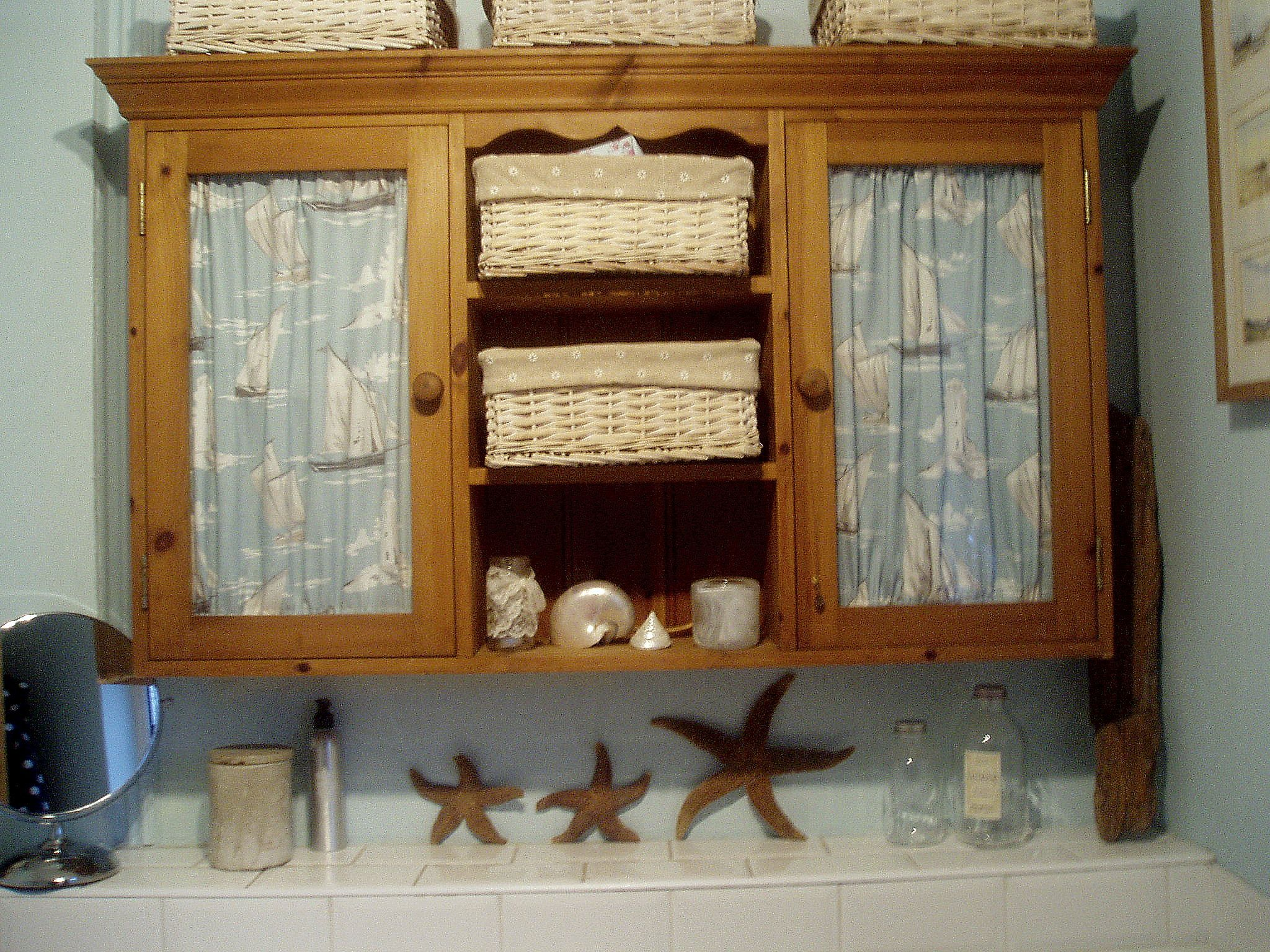 up~cycled top of a old pine dresser makes a perfect solid wood bathroom wall cupboard Hertfordshire  31.05.2014