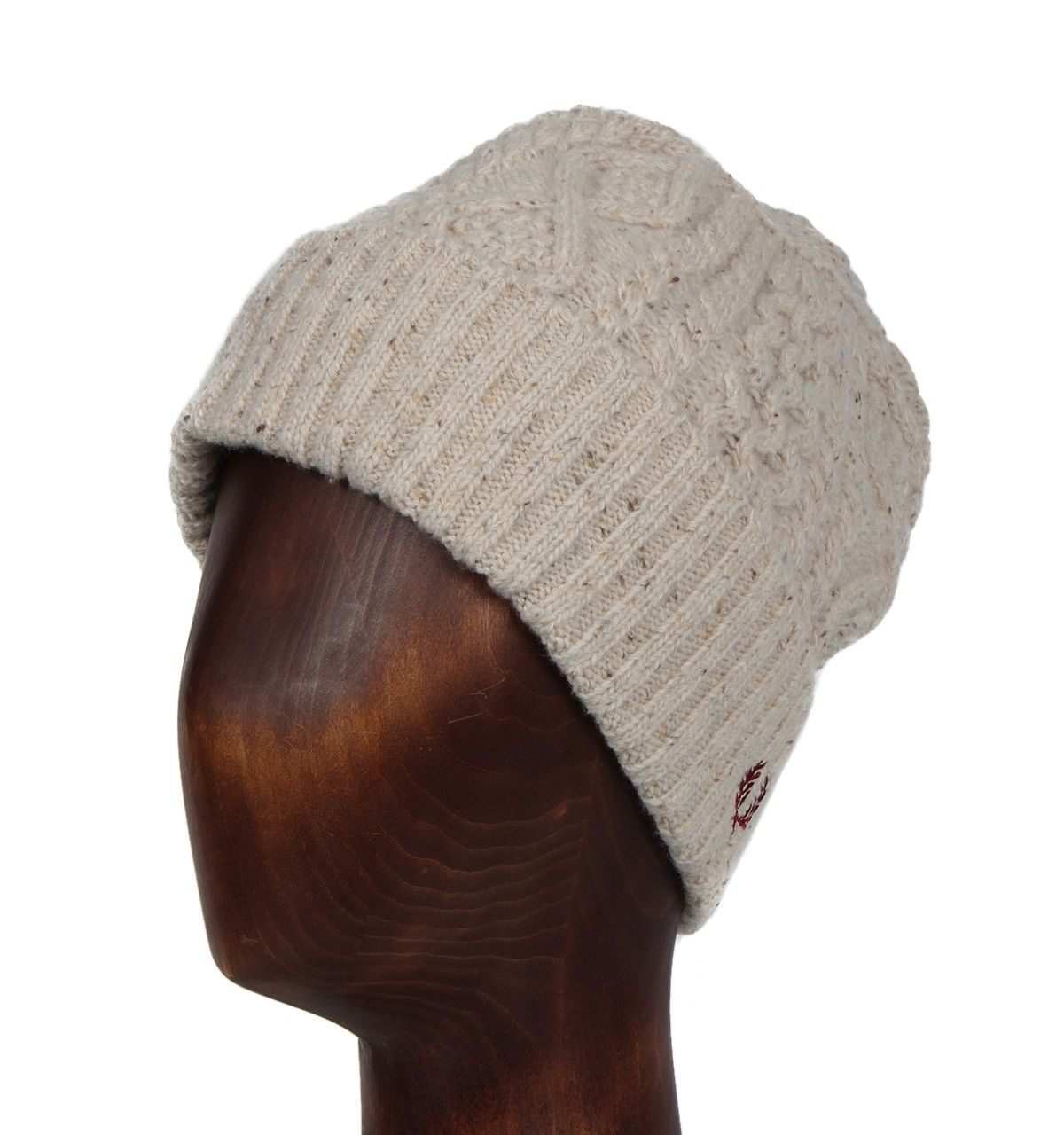 Fred Perry Oatmeal Marl Cable Knit Beanie Hat  324715df7cf