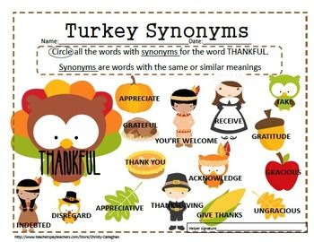 THANKFUL Synonym Worksheet For Free A Fun Activity ThanksgivingPrint In Color Or Grayscale Use This Therapy Send Home Homework