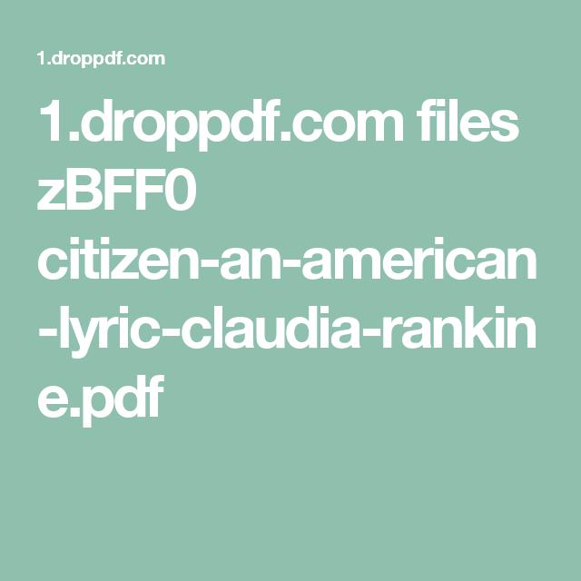 Citizen Claudia Rankine Pdf