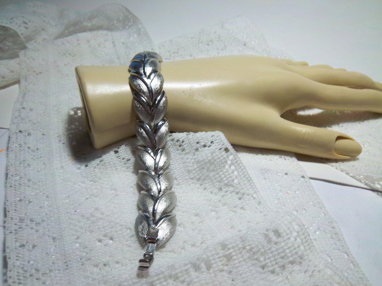 Vintage Crown Trifari Brushed Silver Leaf Bracelet Reduced
